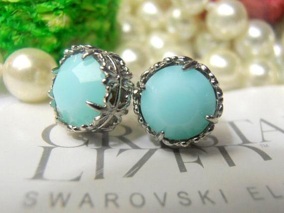 Swarovski Earrings, Crystal Mint Alabaster, Art Deco Earrings, 10mm, Stud Earrings, Post Earrings with Surgical steel