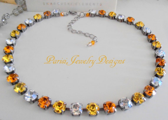 Swarovski Crystal Necklace / Choker / Multicolors Sunflower Yellow / 8mm Chatons / Moonlight / Antique silver / Shabby Tennis necklace