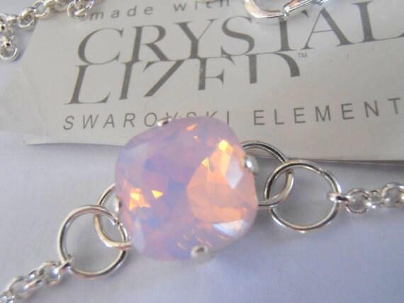 Rose Opal Foot Chain Anklet w/ Swarovski Crystal • Summer Bracelet
