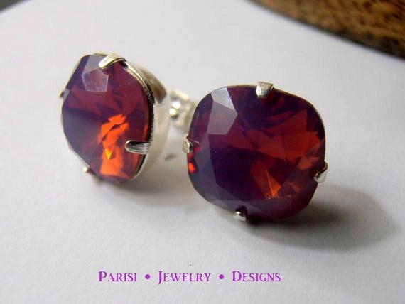 Swarovski Cushion Cut Earrings / Stud Earrings / Pierced Post Silver Earrings / 12mm 4470 Studs / Opal Earrings / Fashion Jewelry / Gift