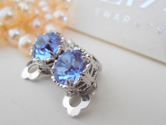 Swarovski Clip on earrings, Light Sapphire Ear Clips, Stud Post Earrings, Non Pierced, Art Deco, Filigree, Vintage Jewelry, Platinum Plated