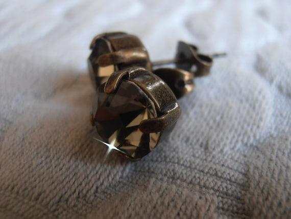 Antique Bronze Black Diamond Swarovski Post Earrings / 8mm Pierced Round Ear Studs