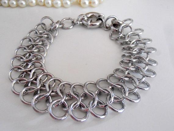Rhodium Chainmaille Statement Bracelet / Wide Thick Chain / Fashion Accessories for women