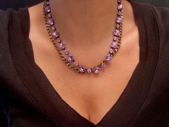 Lavender layering chain necklace w/ Swarovski Crystals
