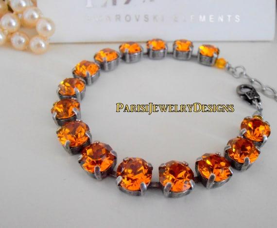 Swarovski  Bracelet / Tennis / November Birthstone Topaz Crystal / Cupchain / Surgical Steel Chain/ Mother's Bracelet / Gift For Her