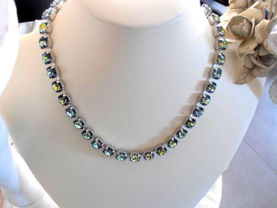 7ed5b65f278b6 Swarovski Crystal Necklace, 8mm, Sahara Blue, Platinum setting ...
