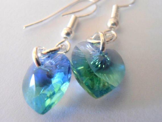 NEW Provence Lavender/Chrysolite Blend 10x10mm Swarovski crystal Heart Silver plated Dangle Minimal Drop Earrings