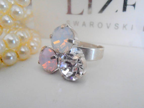 White Opal Rose Water Opal Adjustable Statement Ring w/ Swarovski Crystals