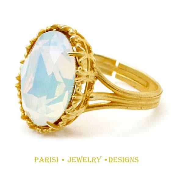 Swarovski Crystal Rings / Art Deco Ring / White Opal / Statement Ring / Boho / Filigree Adjustable Ring / Women Coctail Rings / Gift for Her