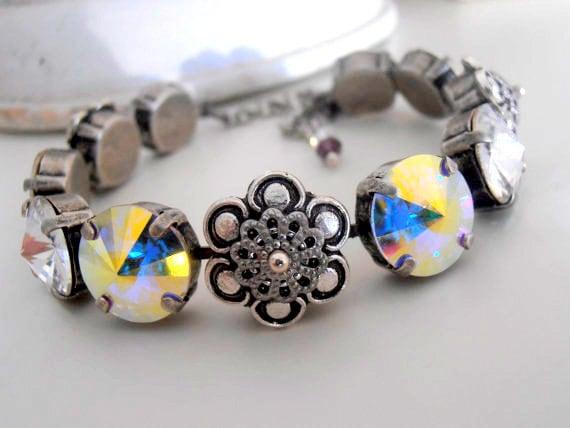 Swarovski Bracelet / Rivoli Cupchain Crystal Bracelet / Anna Wintour Style / Tennis Bracelet / 12mm / Embellishment / Antique silver