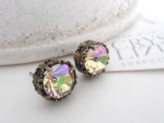 Luminous Green Post Earrings w/ Swarovski Chatons • Antique Jewelry