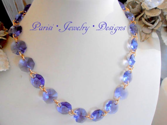Tanzanite Swarovski Necklace / Crystal Choker / Dainty / Octagon Transparent Sew On Crystals /  Gold Statement Necklace / Gift for her