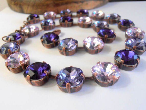 Purple Swarovski Crystal Necklace / Cushion Cut Necklace / Tennis Cupchain 4470