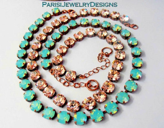 Pacific Opal Swarovski Crystal Necklace / Silk Choker / Tennis Cupchain / Antique Copper / 8mm Chatons / Designer Necklace / Gift for her