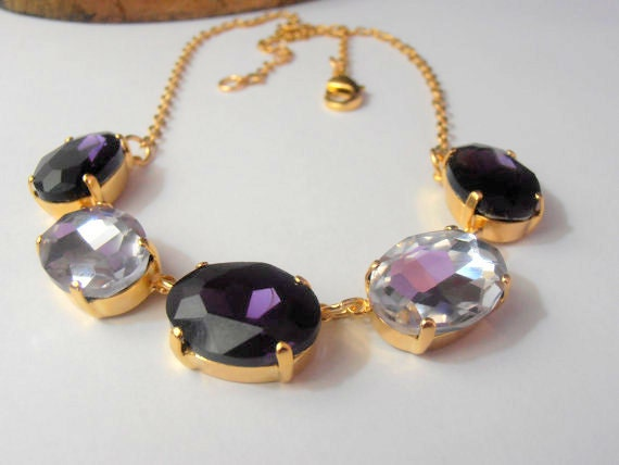 Violetta, Swarovski Necklace, Collet, Oval 18x13mm, Statement, Cabochon, Crystal, Bib, 14K Gold plated, Tennis Necklace, Estate Jewelry