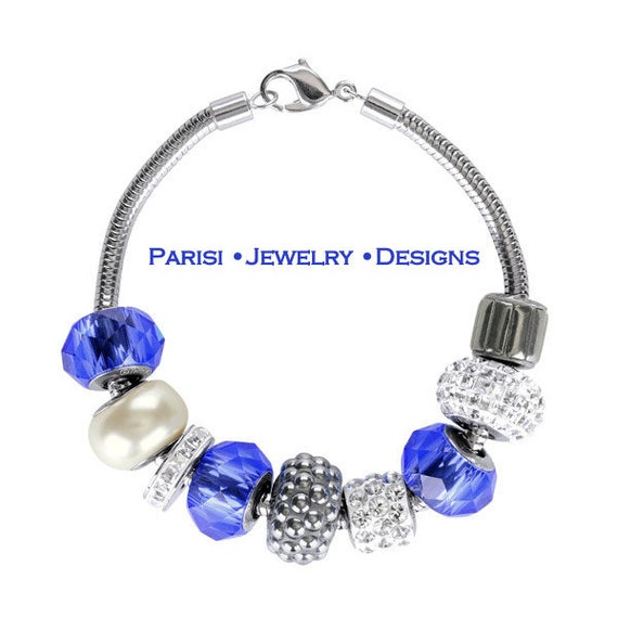 Multi colors Blue Swarovski Becharmed Bracelet / Sapphire Micro pave Jewelry