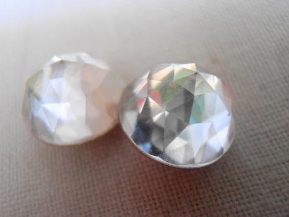 Clear Swarovski Dome Earrings 2072 / Rose Cut Pierced Post Jewelry