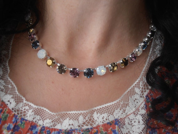 Swarovski Crystal Necklace / Tennis Cupchain Choker / Montana/White Opal Chatons / Silver Plated / 8mm Chaton Necklace