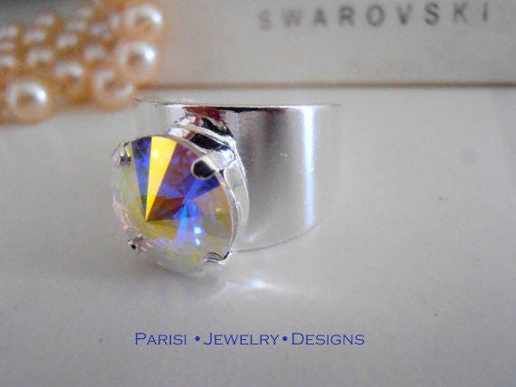 Aurora Borealis Rivoli Ring / AB Crystal Cuff w/ Swarovski / Adjustable Statement Band