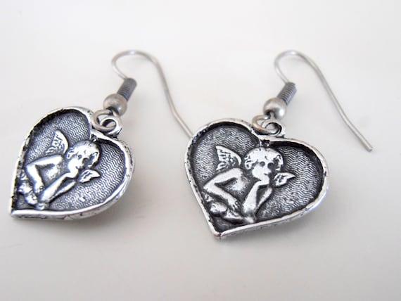 Heart Guardian Angel Earrings / Religious Jewelry