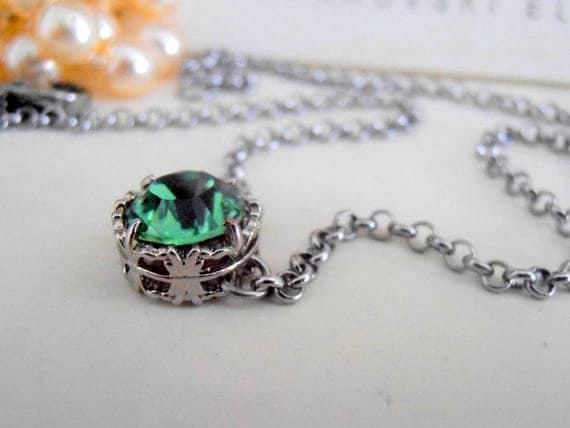 Erinite Solitaire Pendant w/ Swarovski Crystals / Layering Jewelry