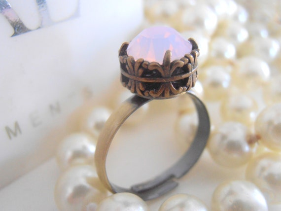 Dainty Swarovski Ring / Rose Water Opal / Gothic Rings / Solitaire Stackable Ring / Art Deco / Midi / Antique Bronze Filigree / Bohemian