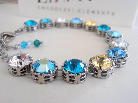 Swarovski Crystal Bracelet / Art Deco / Wedding Bracelet / Blue Crystals / Filigree Bracelet / Platinum Plated / Fashion Bracelet / Gift