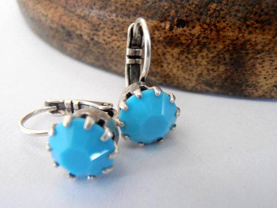Turquoise Blue Drop French Crown Earrings w/ Swarovski Crystal Chatons