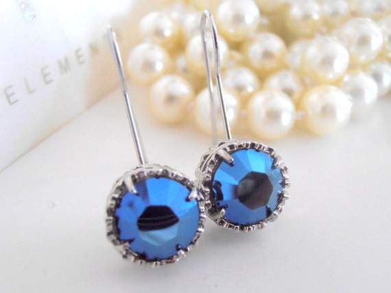 Art Deco Earrings, Swarovski Hook Earrings, Blue Metallic, Drop, Dangle, Crystal, Platinum Plated Filigree Prong Setting, Vintage Jewelry