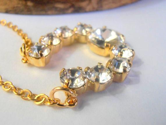 Horseshoe Long Swarovski Pendant • Gold Chatons Charm Chain Necklace