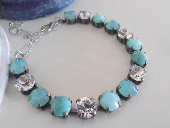 Pastel Swarovski Bracelet / Pacific Opal Bracelet / Cupchain Tennis Bracelet / Shabby Chic / Multicolor Crystal Chatons /