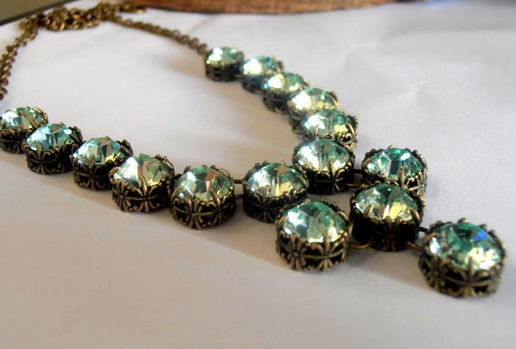Chrysolite Swarovski Crystal Necklace • Valentines Day Gift Birthday • Art Deco Edwardian Y Long Necklace •