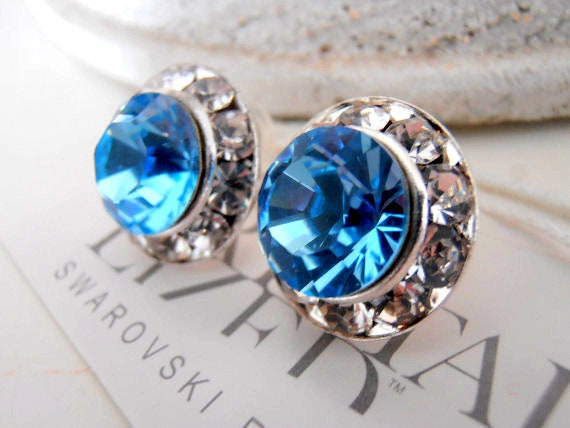 Aquamarine Halo Earrings w/ Swarovski Crystals / Bridesmaids Jewelry /Bridal Wedding Studs / Post Earrings