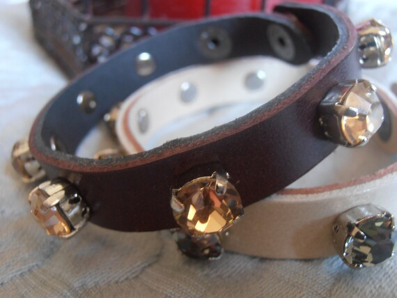 Swarovski bracelet / Crystal Cuff Bracelet / Brown Leather Wrap Bracelet / bohemian / Strap Bracelet / Gift for her / Bangles