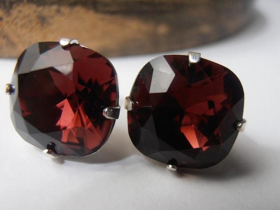 Burgundy Cushion Cut Stud Earrings w/ Swarovski 4470 / Pierced Post Jewelry