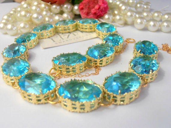 Riviere Swarovski Crystal Necklace / Statement Jewelry / Turquoise Georgian Collet