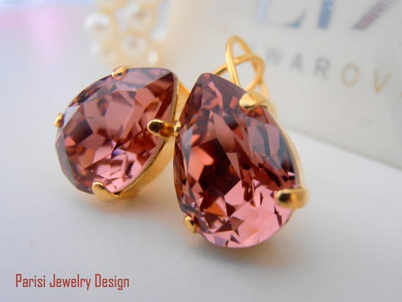 Blush Rose Teardrop Earrings w/ Swarovski Crystals 4320 / Wedding Gold Jewelry
