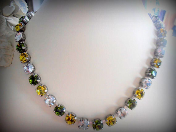 Swarovski Crystal Necklace, 8mm, Khaki/Lime multicolor chatons, Antique silver, Shabby Chic style, Cupchain, Choker, Tennis Necklace