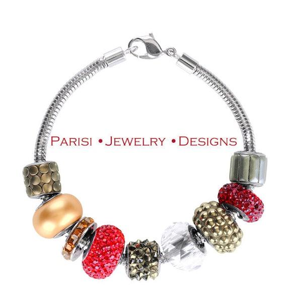 Becharmed Sterling Silver Swarovski Crystal Bracelet / Micro Pave Charms Jewelry