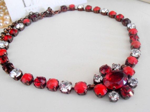 Edwardian Collet Necklace w/ Swarovski Crystals / Statement Choker