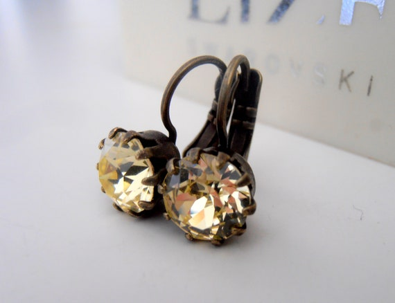 French Wire Swarovski Crown Drop Earrings / Light Citrine Yellow / Antique Bronze Jewelry