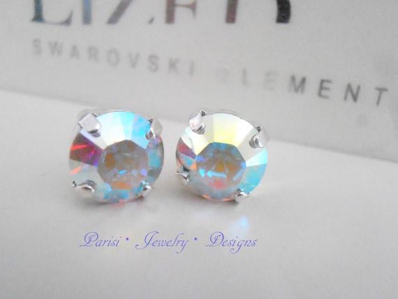 Aurora Borealis Swarovski Stud Earrings / Wedding Bridal Crystal ear studs / Pierced 10mm Post Silver Earrings / Fashion Studs
