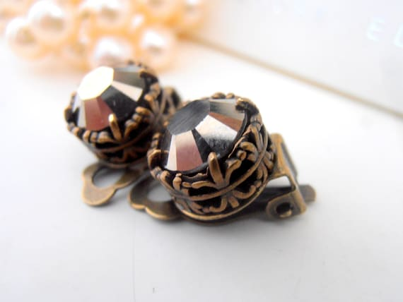 Clip On Earrings, Swarovski Clip On, Studs, Non Pierced for girls, Art Deco, Sand Metallic, Antique Bronze, Post, Filigree, Vintage Jewelry