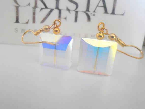 Aurora Borealis Swarovski Earrings / 14K Gold Filled Earrings / Stairway 5624 Drop Hook Earrings / Wedding Dangle Earrings / Bridal Jewelry