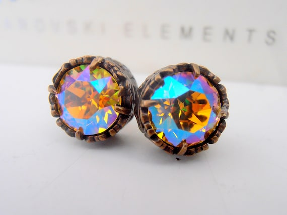 Light Topaz Shimmer Surgical Steel Stud Earrings w/ Swarovski / Art Deco Jewelry