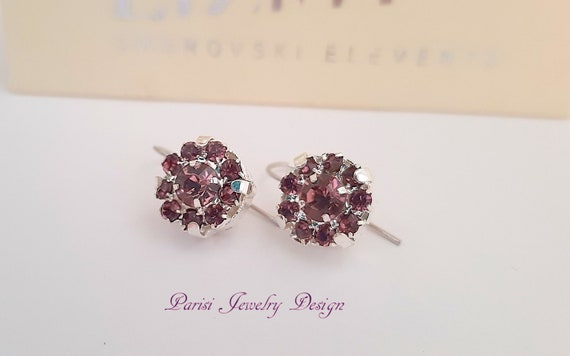 Antique Pink Flower Earrings w/ Swarovski Crystals / Floral Jewelry