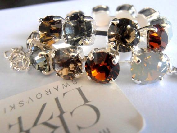 brown Multicolors Sand Opal, Swarovski Bracelet, 8mm, Crystal Chatons, Sterling Silver plated, Shabby, tennis bracelet