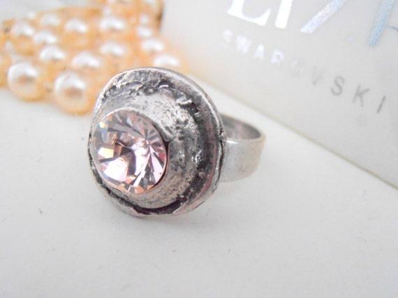 Silk Swarovski Crystal Ring / Bohemian Rings / Hippie / Boho Adjustable Rings / Antique Silver / Birthday Gift For Her / Fashion Rings