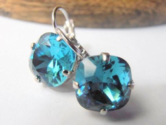 Indicolite Swarovski Cushion cut Drop Earrings 4470 / Fancy Women Jewelry