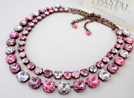 Multicolors Rose Pink Swarovski Necklace / Anna Wintour Choker